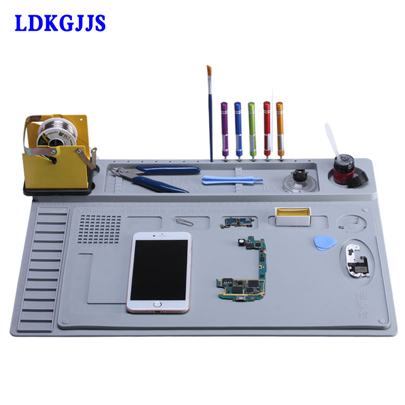 2 in 1 Heat-resistant Soldering Mat Silicone Insulation Mat Solder Desk Pad For BGA Soldering Repair Work Station xpreen electric pore vacuum cleanser