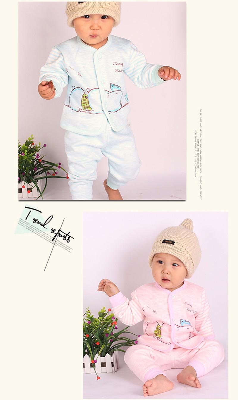 2PCS Winter Newborn Set Cartoon Hippo Girl Boys Clothes Long Sleeve Unisex Suit Baby Top+Pants Sets Candy Color Infant Underwear (3)