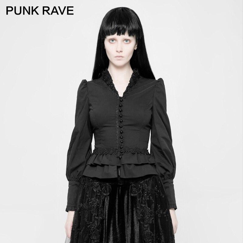 Punk Rave femmes Goth manches ballon dentelle chemises WY1042CCF - 2