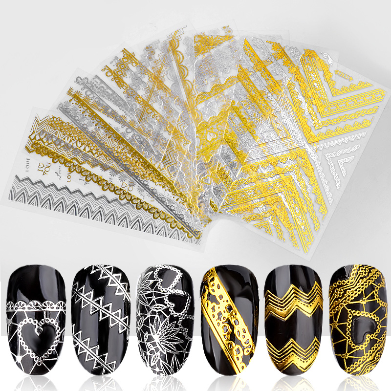 Lace Heart Triangle 1 Sheet Gold Silver Metal 3D Nail Sticker Embossed Adhesive Art Decal Decorations