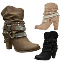 New Short Boots Women Western Goth Diamonds Studs Boots Ankle Boots Women High Heel Booties Spiked Shoes Plus size 35 44