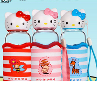 1pcs Hello Kitty Sports Glass Portable High Boron Silicon High Temperature Glass Cup Water Bottles Creative