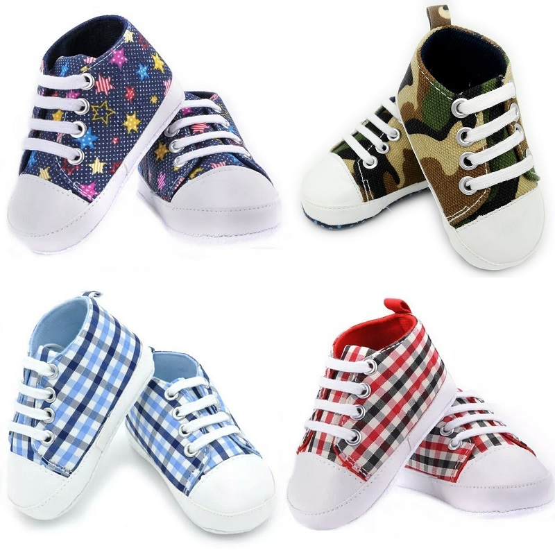Unisex Baby Shoes Non-Slip Newborn First Walker Infant Prewalker Canvas Shoe Children Boy Sneakers Girl GYM Plimsoll 11 12 13 14