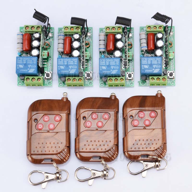 220 V 1CH 1000W RF Wireless Remote Control Switch System Latched light switch 4 receiver + 3 transmitter 24v 1ch rf wireless remote switch wireless light lamp led switch receiver