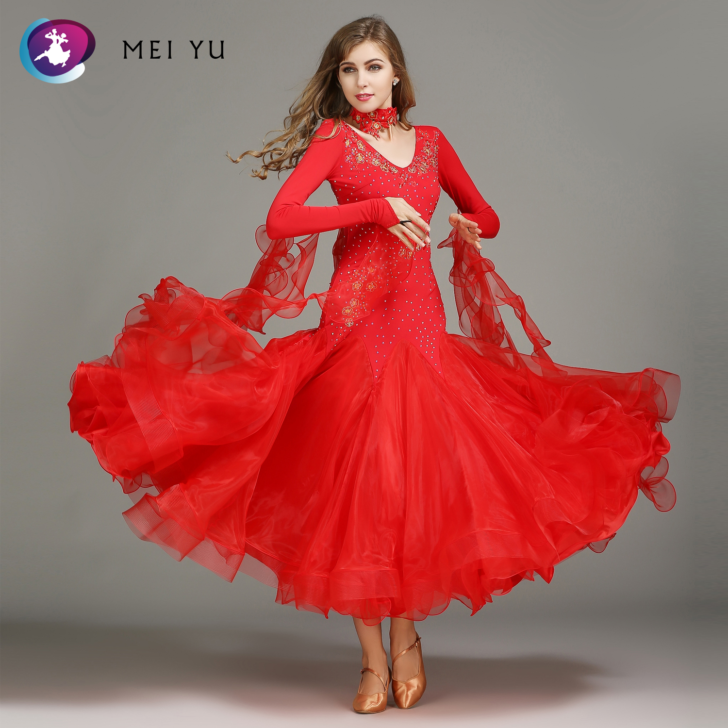 Smart Mei Yu Hb195 2018 New Modern Dance Costume Women Lady Adult Waltzing Tango Dancing Dress Ballroom Costume Evening Party Dress Big Clearance Sale Stage & Dance Wear
