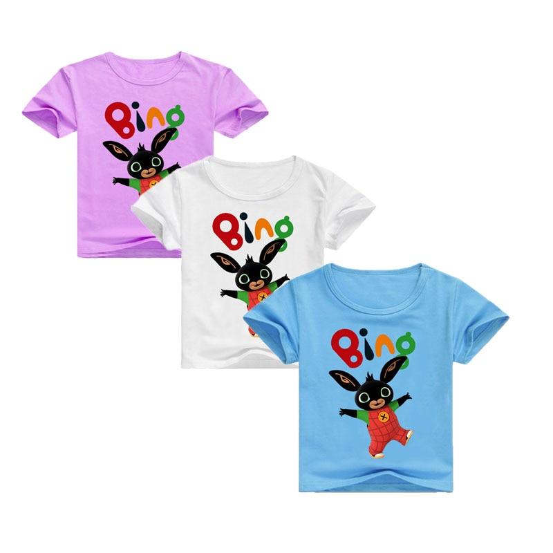 Kids Bing Bunny T-Shirts Short-Sleeve White Baby Cartoon-Design Children's Summer Rabbit