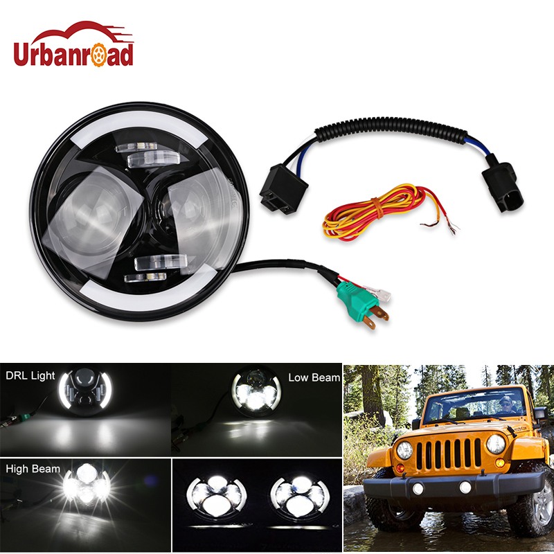 Urbanroad 1Pcs For Wrangler 7 Inch Round LED Headlight H4 Hi-Lo beam 60W 6500K White Halo Angel Eyes For Jeep JK Land rover 6 inch led headlights eagle light hi lo beam halo ring angel eyes x drl for offroad jeep wrangler front bumper fog light