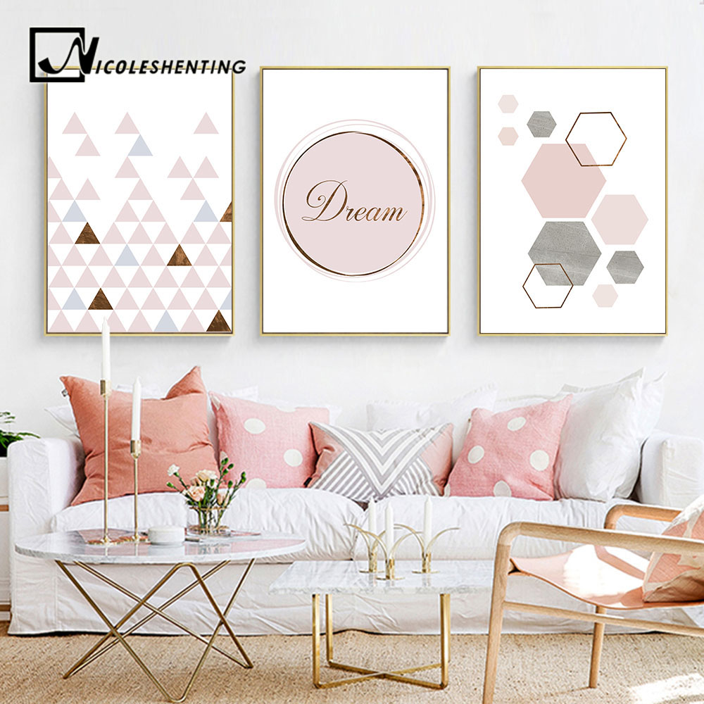 Pink Geometry Canvas Art Posters And Prints Abstract