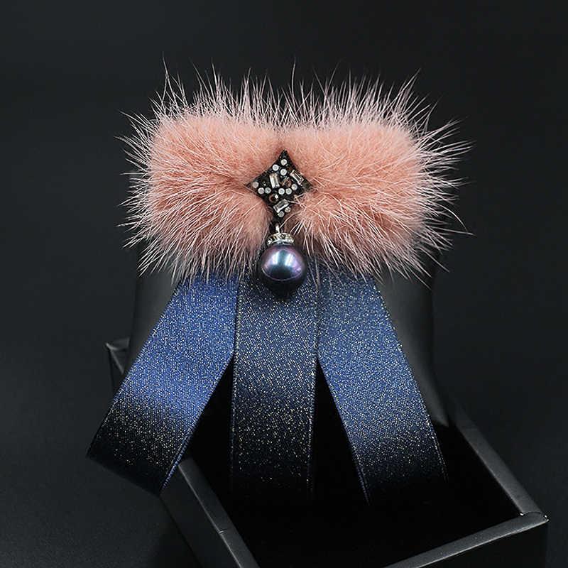 Nouvelle mode femmes cravate hiver manteau pull corsage femmes nœuds papillon vison cheveux fille broche noeud papillon cou cravate accessoires