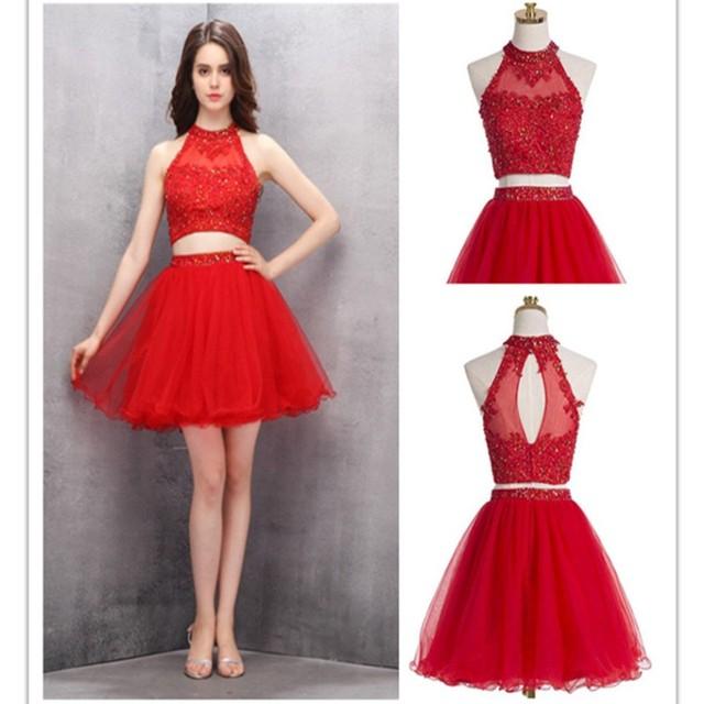 0899f2538 Vestidos de graduacion cortos color rojo – Los vestidos de noche son ...