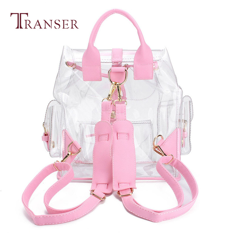 Best Gift Fashion School Book Pink Summer Women's Clear Plastic See Through Security Transparent Backpack Bag Travel Bag B31 30