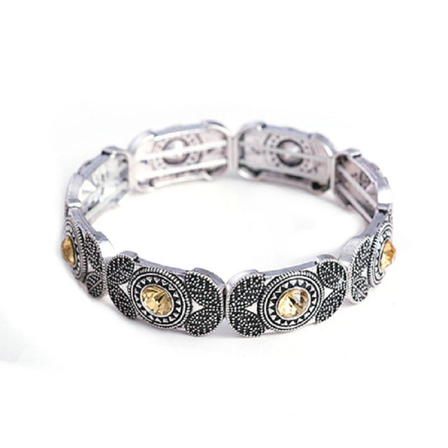 Fashion Vintage Antique Silver Bracelets Bangles Stretch Bracelet Retro Crystal Turkey Jewelry For Women