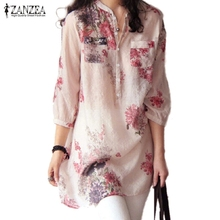 ZANZEA 2016 Summer Women Blusas Vintage Floral Printed Blouses Elegant 3/4 Sleeve Linen Casual Long Tops Shirts Plus Size