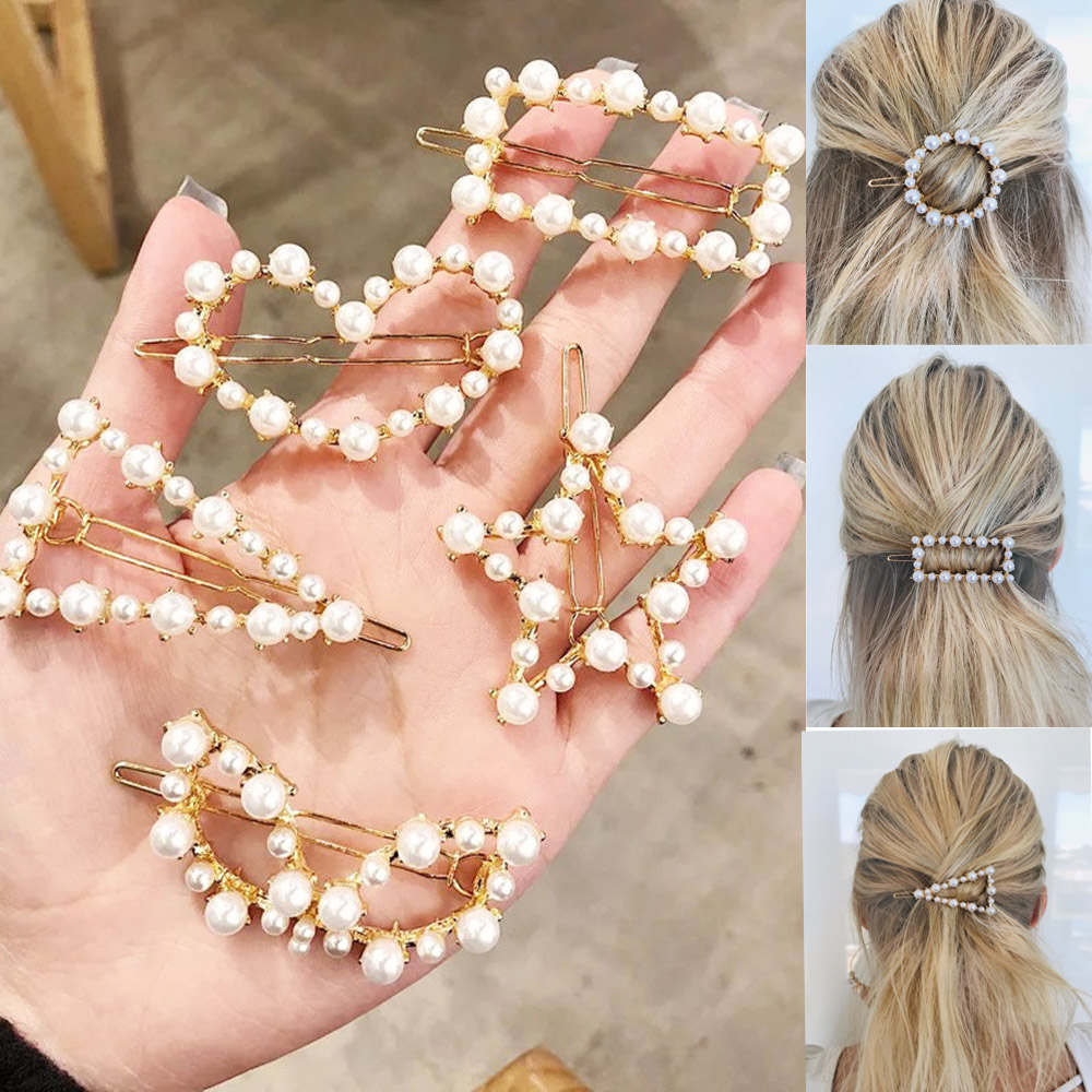 Fashion Crystal Pearl Hair Clips Metal Hairclip Elegant Barrette Bobby Hair Pins Wedding Hair Styling Tool Hair Clips For Women