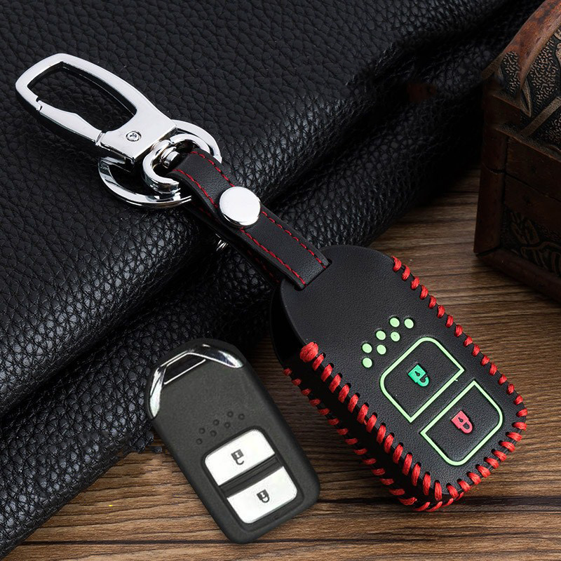 Image 2 - Hand sewing Luminous Leather Car Key Cover Case For Honda Vezel city civic Jazz BRV BR V HRV Fit Remote Key Jacket Car stying-in Key Case for Car from Automobiles & Motorcycles