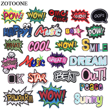 ZOTOONE Embroidered Letter Patches For Clothes Iron On Letters Ptch Stickers Applique DIY Jeans Sticker Clothing D
