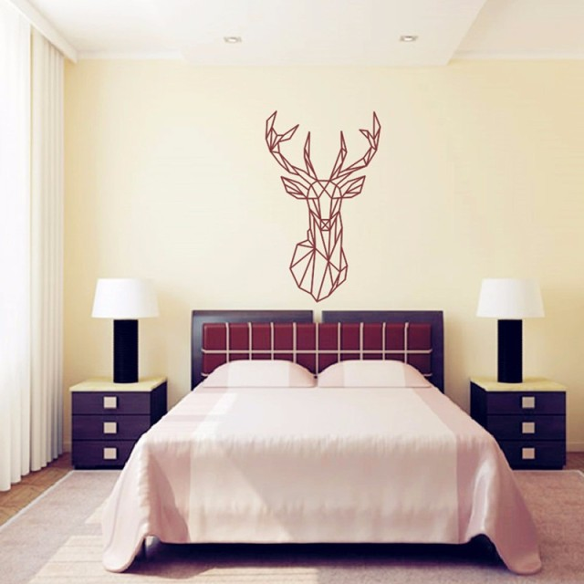 CaCar DIY Geometric Deer Head 3D Wall Sticker For Kids Rooms Geometry  Animal Series Decals Vinyl Part 51