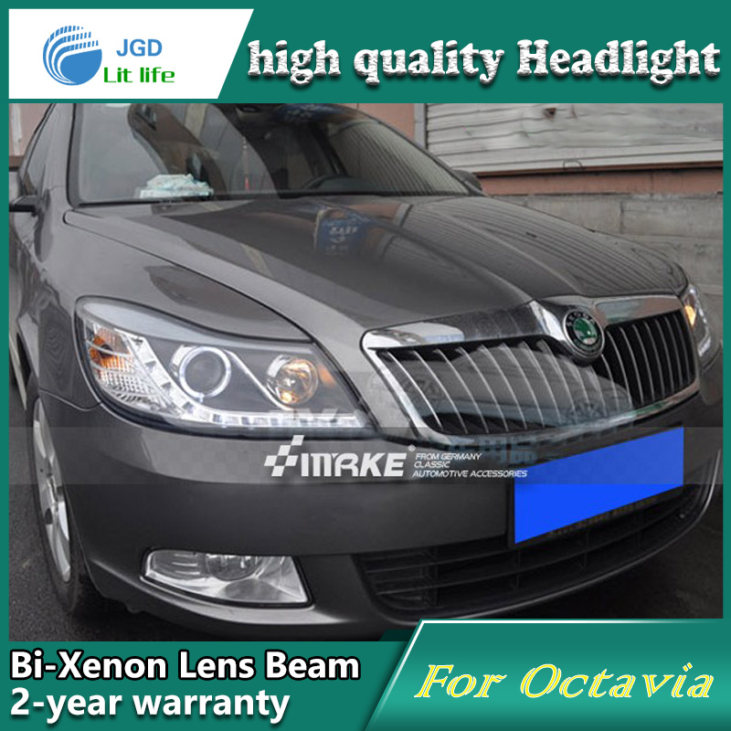 high quality Car Styling case for Skoda Octavia 2010-12 Headlights LED Headlight DRL Lens Double Beam HID Xenon Car Accessories hireno headlamp for 2016 hyundai elantra headlight assembly led drl angel lens double beam hid xenon 2pcs