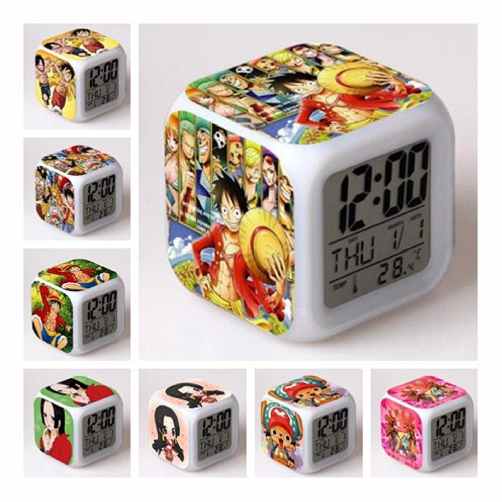 Anime One Piece Luffy LED Glowing Digital Alarm Clock 7 Color Change Thermometer