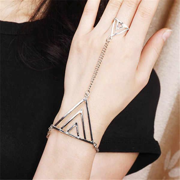 2018直接販売亜鉛骨ファッションの指ブレスレットゴールデントライアングル手チェーン女性新しいパンクスタイルハーネス腕輪用