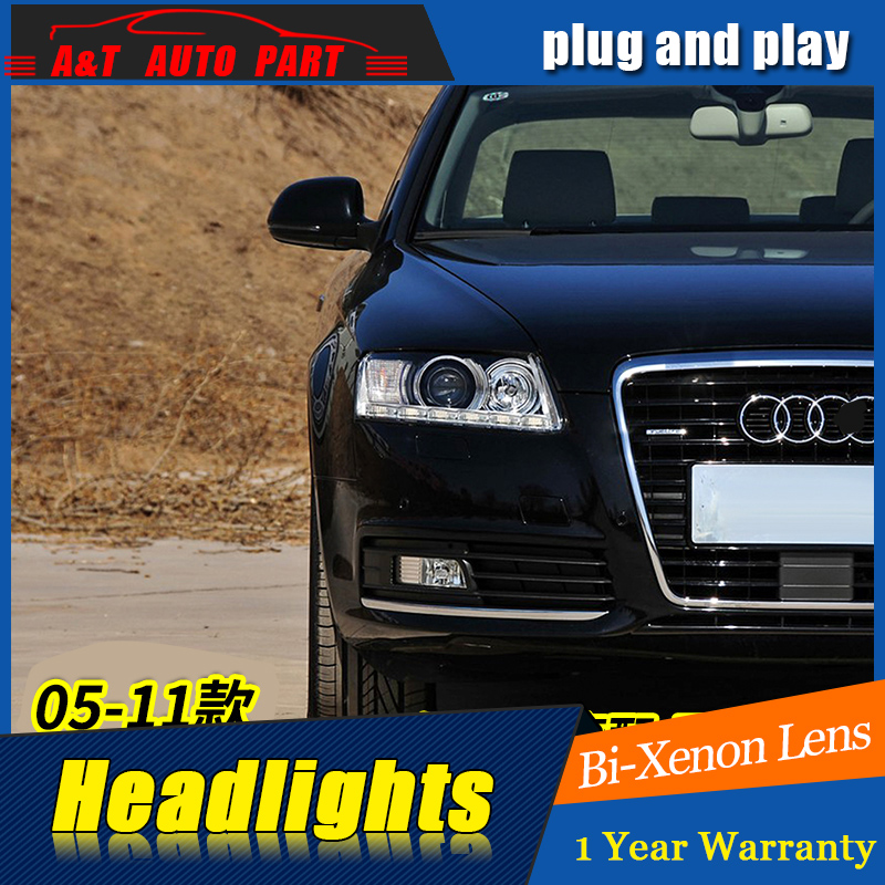 Car Styling For A6 headlight assembly 2005 2011 For A6 LED head lamp Angel eye led