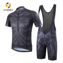 saiBike black Batman Cycling Jersey and BiB shorts Sets men Summer Breathable & Shorts set 3D Padded Short Sleeve Jerseys