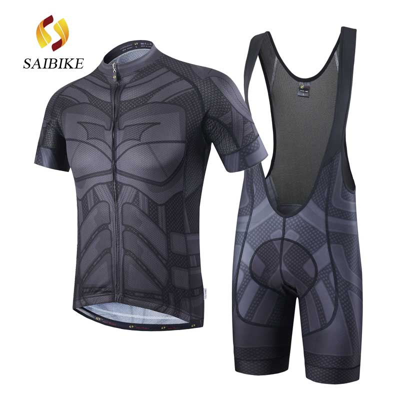 saiBike black Batman Cycling Jerseys and BiB Shorts Sets men Summer Breathable ropa ciclismo Cycling clothing maillot ciclismo aubig cool unisex ladies men summer breathable elasctisch cycling clothing full zip jerseys radshorts suit