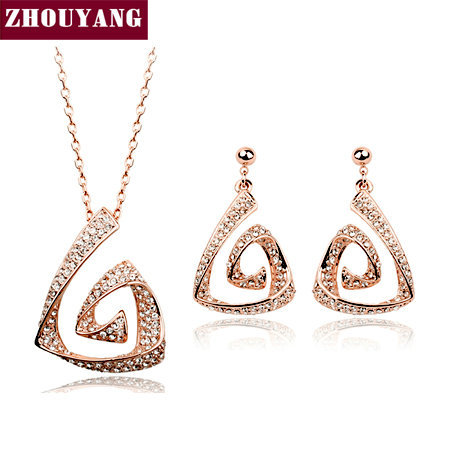 Top Quality ZYS089 Fully-jewelled Rose Gold Color Jewelry Necklace Earring Set Rhinestone Made with Austrian Crystal Health