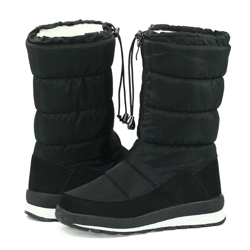 GOGC 2018 Rusya Kış Ayakkabı orta buzağı botas diz yüksek Çizmeler siyah uzun Çizmeler yüksek Ayakkabı Kadın kadın Kar Botları G9613
