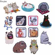 Prajna Cartoon Animals Patches Cute Dogs Cat Embroidery Iron On For Clothing DIY Good Quality Kids T-shirts Applique