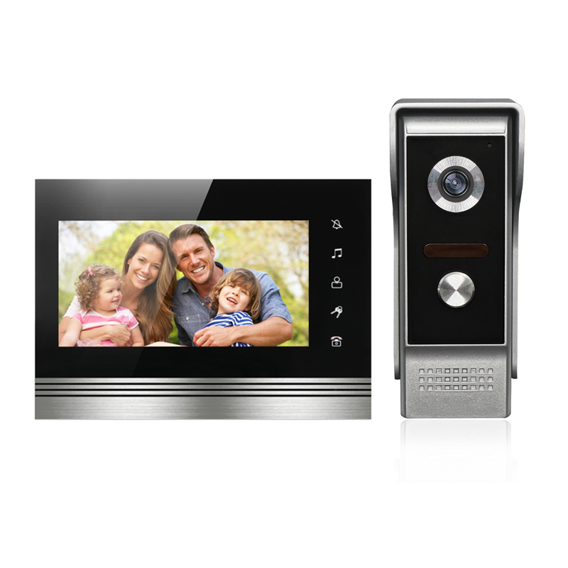 New wired 7'' color TFT-LCD video door phone intercom system 1 monitor+1 IR outdoor camera video doorbell for home Free shipping homefong villa wired night visual color video door phone doorbell intercom system 4 inch tft lcd monitor 800tvl camera handfree