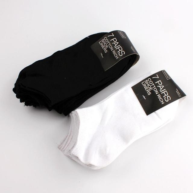 7 Pairs Invisible Cotton Socks Shallow Mouth Thin White