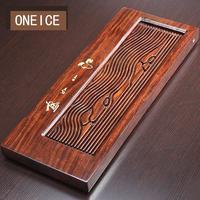 Полный кусок эбенового дерева чайный поднос кунг фу набор домашний Простой сухой стол дренаж двойного назначения Китайский кунг фу бамбуко