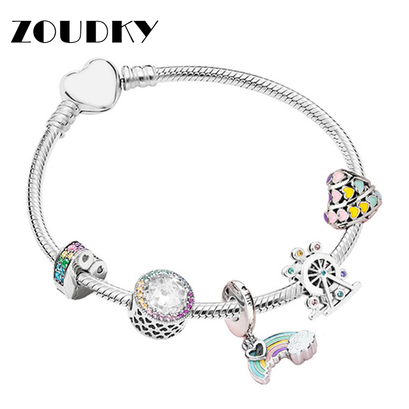 ZOUDKY 100% 925 Sterling Silver Magic Dream Neon Bracelet String Ornaments Gift Set Original Women Jewelry Charming GiftZOUDKY 100% 925 Sterling Silver Magic Dream Neon Bracelet String Ornaments Gift Set Original Women Jewelry Charming Gift