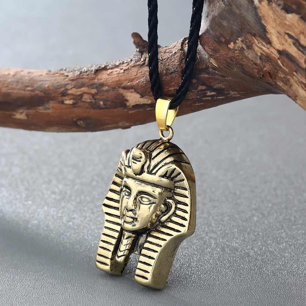 QIMING antyczny srebrny czarny naszyjnik egipt biżuteria faraon wisiorek naszyjnik dla kobiet mężczyzn biżuteria w stylu Vintage naszyjnik Collier