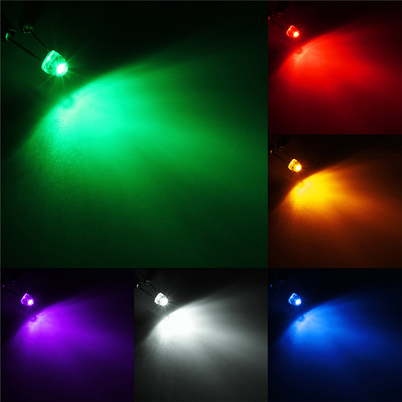 Top Quality DIY 100Pcs 5mm Straw Hat LED Wide Angle Light Emitting Diodes Water Clear 6 Color Red/Blue/Green/Yellow/White/Purple