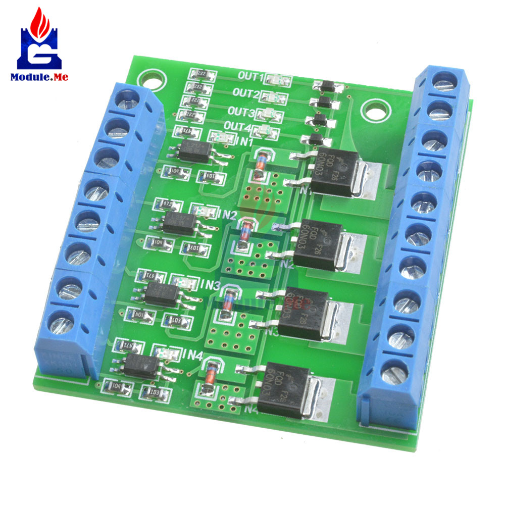 3v 5v Low Control High Voltage 12v 24v 36v Switch Mosfet Module For Circuit Generator With Hex Fet Mos 4 Channels Pulse Trigger Controller Pwm Input Steady Motor Led