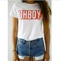 OHBOY Печати Женщины Футболки Топы Новый Мода Лето Стиль Тис футболки Женщина Harajuku Белый Женской Одежды