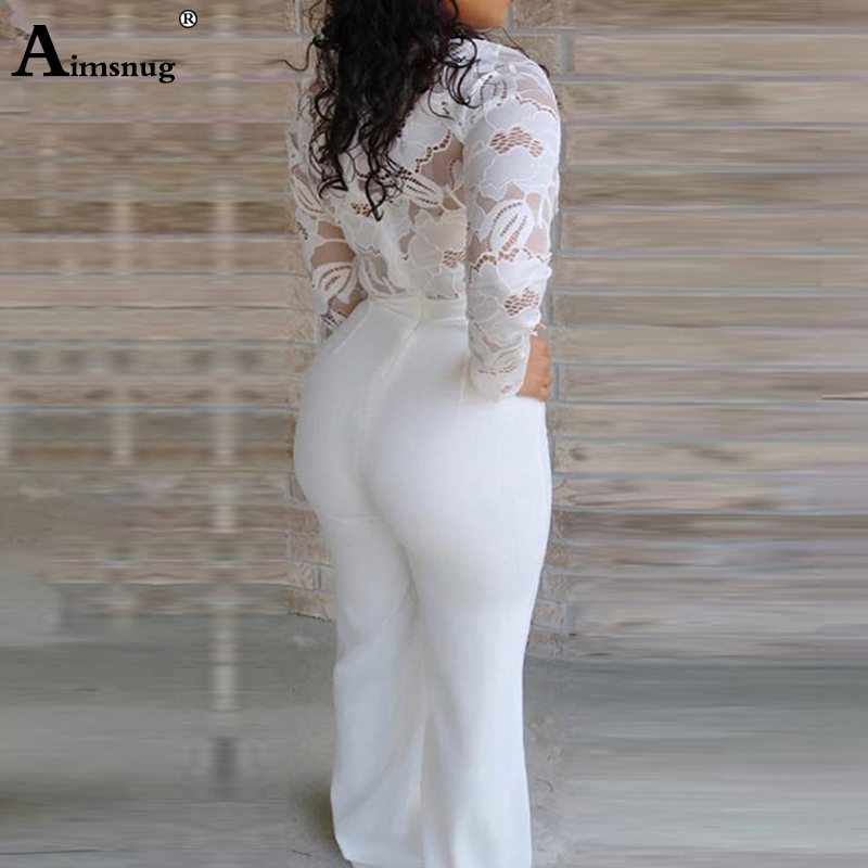 2019 New Women Elegant Lace Sexy V Neck Slim Fit Outfit Patchwork Crochet Plunge Eyelash Lace Bodice Insert Jumpsuit One Piece in Jumpsuits from Women 39 s Clothing