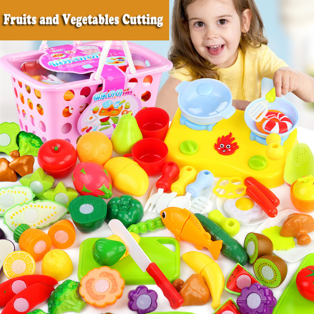 397c56c08239 Plastic Fruits and Vegetables Cutting Set Kids Kitchen Toys Children  Pretend Play Food Toddler Girls Educational