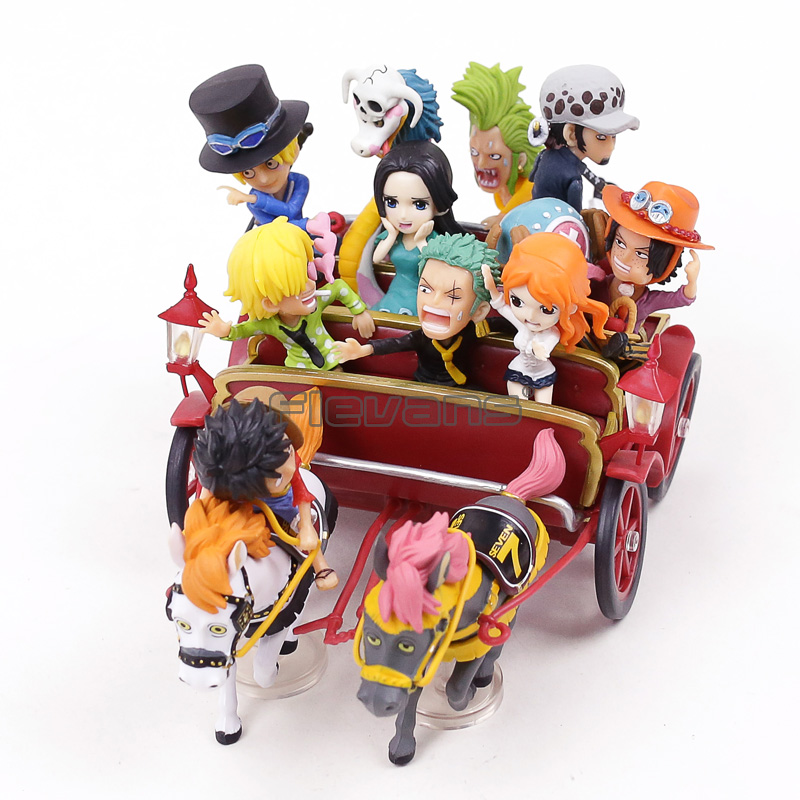 Anime One Piece 20th Anniversary Luffy Ace Nami Law Hancock Carriage PVC Figure Toys 2 Colors anime one piece action figure 20th red clothes luffy mdoel toys pvc collection figurine luffy toys 24cm