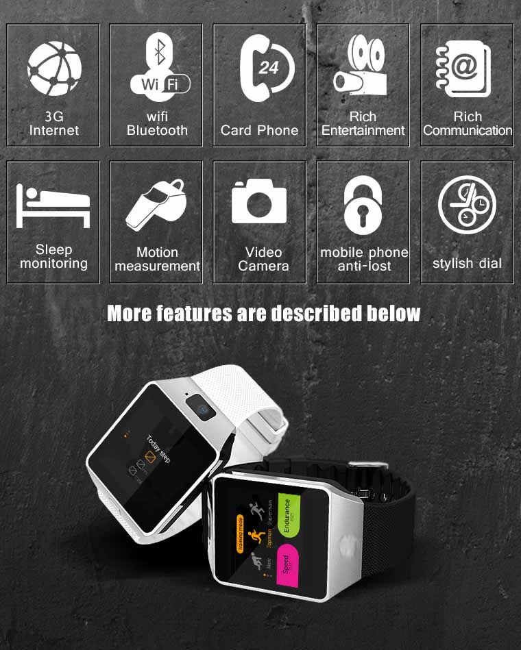 Image 5 - 3G WIFI Smart Watch 4GB ROM Sport Facebook/Twitter/WhatsApp Internet QW09 Bluetooth Smartwatch 2.0 Camera Pedometer SIM Card-in Smart Watches from Consumer Electronics