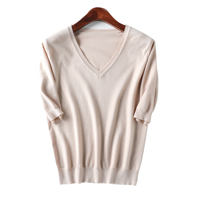 Spring Summer Women Sweaters Pullovers Solid V-neck Short-sleeved Knit Cashmere Sweater Thin Casual Tops Jumper Female RE2531 5
