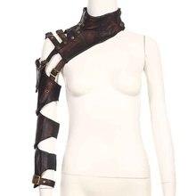 สีน้ำตาลหนังPU Teampunkแขนยาวแขนวอร์เนอร์โกธิคBoleroยักเสื้อคลุมผ้าคลุมไหล่ห่อแจ็คเก็ตชั้นนำ S