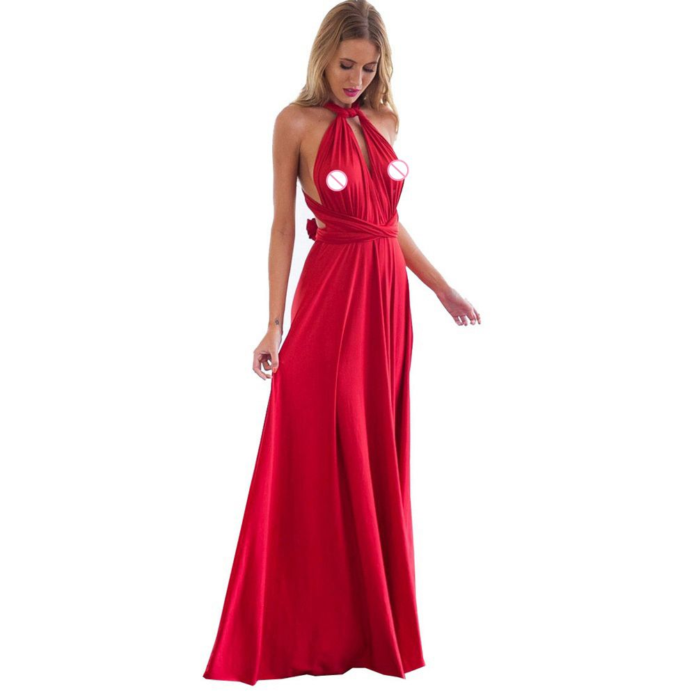 Sexy Women Boho Maxi Club Dress Red Bandage Long Dress Party Multiway Bridesmaids Convertible Infinity Robe Longue Femme Q27