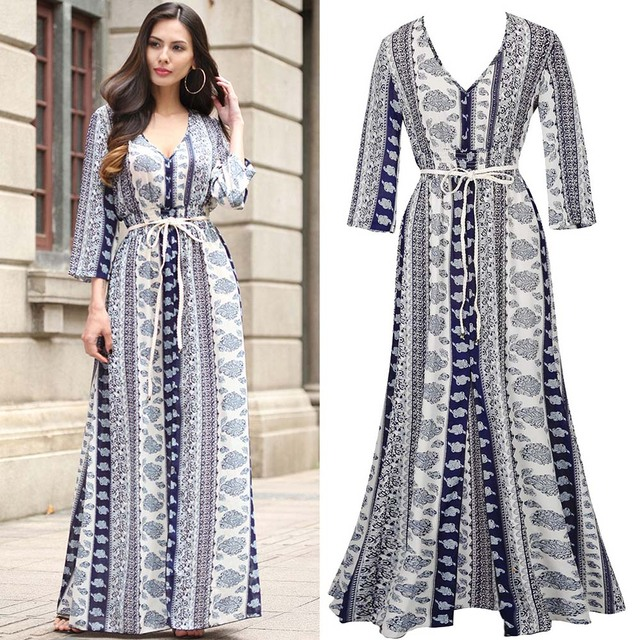 06a5a0105614e1 Iets Nieuws AuraPicco Women s Ethnic Print Bohemian Wrap Maxi Dress Long   OI93