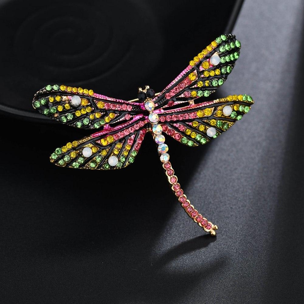 Terreau Кэти 2018 Новая мода Винтаж разноцветной эмалью Dragonfly Броши для Для женщин подарки женские ювелирные изделия