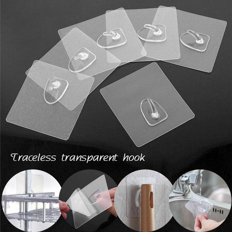 2Pack Transparent Seamless Adhesive Hook Hanger Traceless Strong Hooks Wall Rack