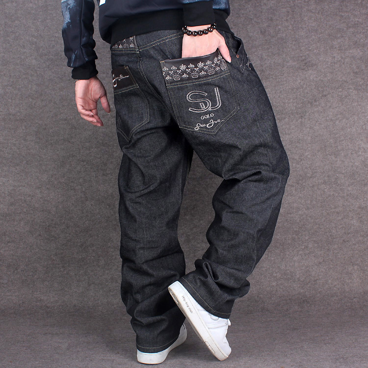 black baggy jeans men hip hop streetwear skateboarder