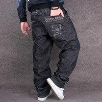 Noir Baggy Jeans Hommes Hip Hop Streetwear Skateboarder Denim Pantalon hommes de Loose Fit Plus La Taille Hiphop Jeans Taille 42 Taille 44